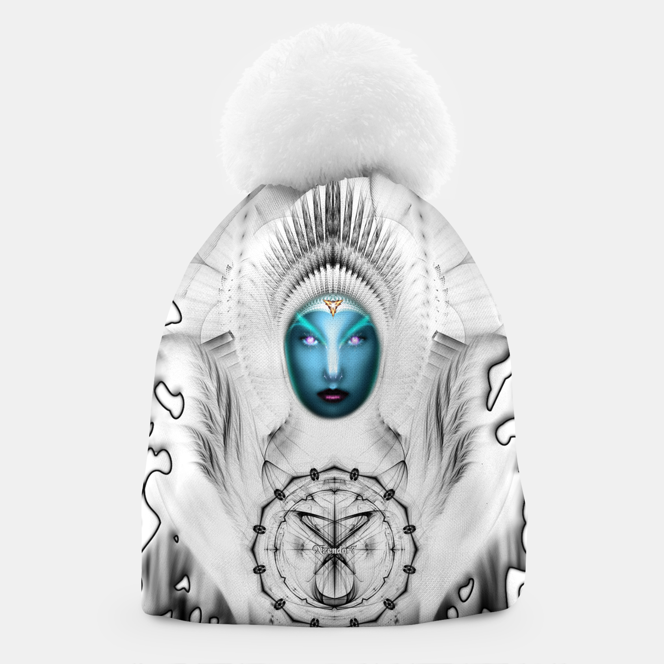 Image of Riddian Queen Angel White SPL On White  Beanie - Live Heroes