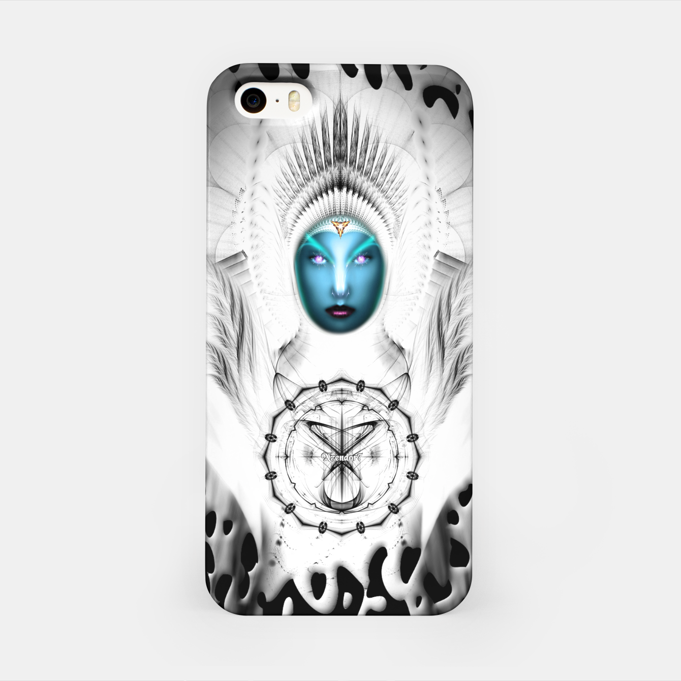 Image of Riddian Queen Angel White GSplatter On Black iPhone Case - Live Heroes