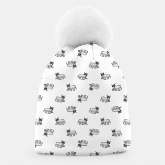 Thumbnail image of Funny Monster Feline Drawing Motif Pattern Beanie, Live Heroes