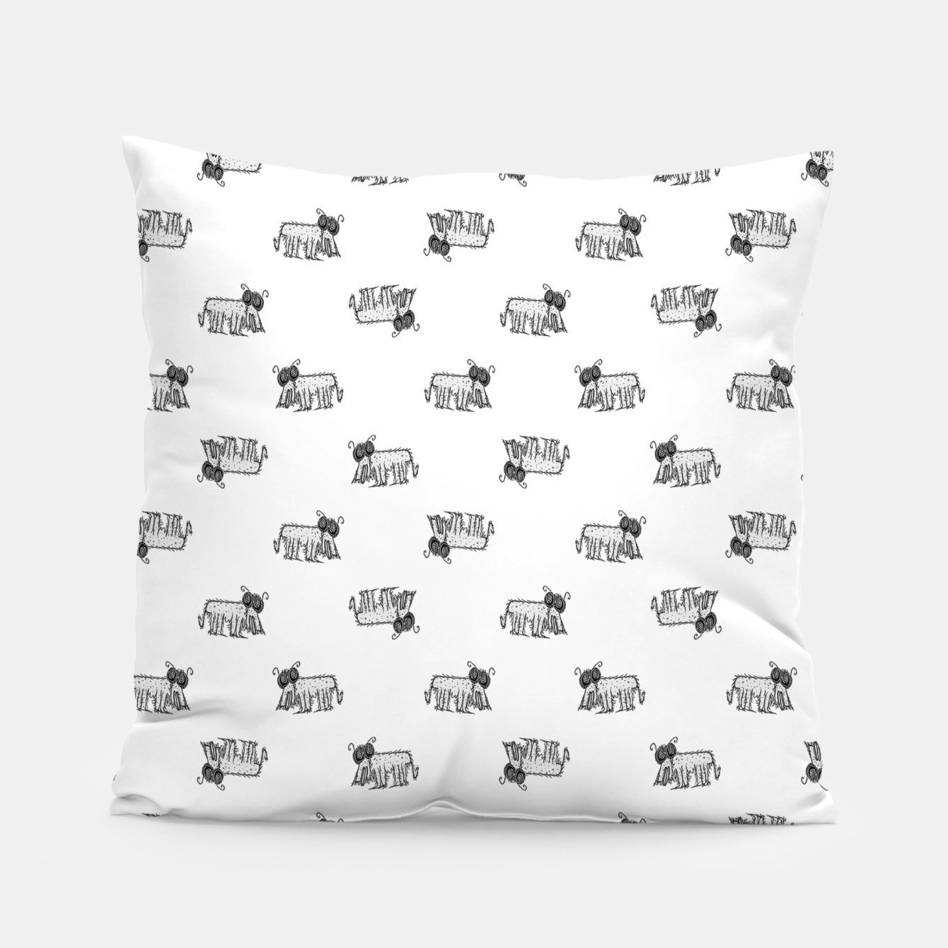 Image of Funny Monster Feline Drawing Motif Pattern Pillow - Live Heroes