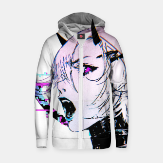 Thumbnail image of Cyberpunk Japanese Orb Glitch Evil Girl Urban Cool Style  Sudadera con capucha y cremallera , Live Heroes