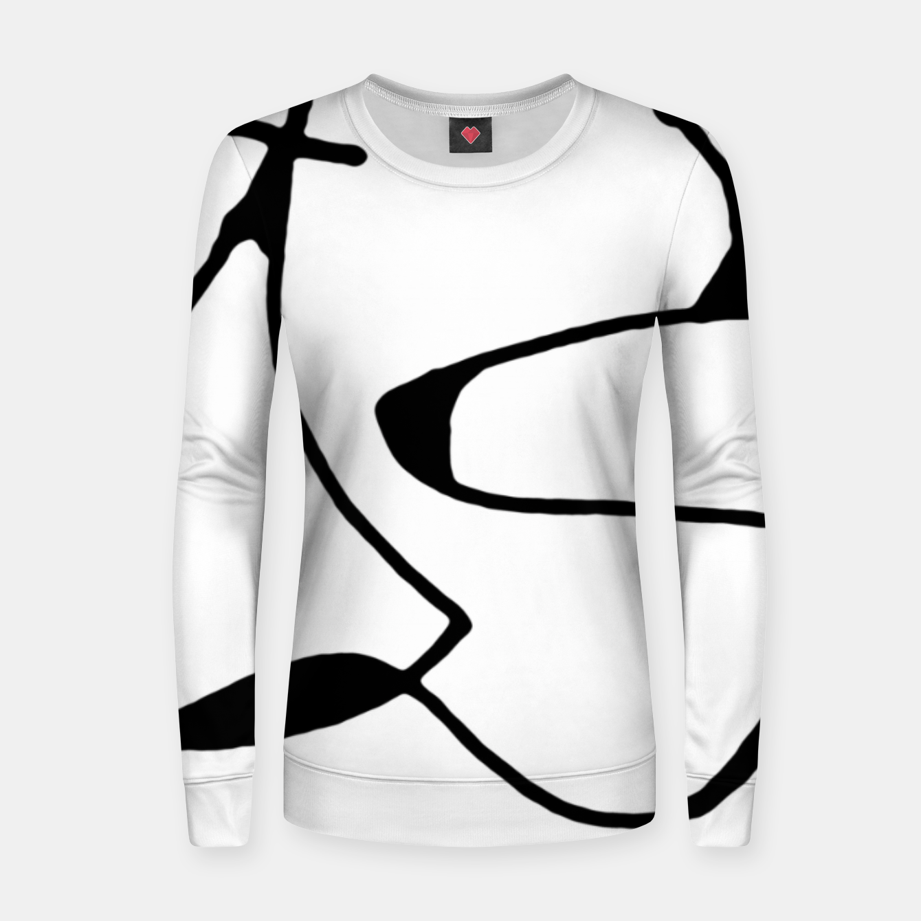 Image of Black and White Abstract Linear Decorative Art Women sweater - Live Heroes