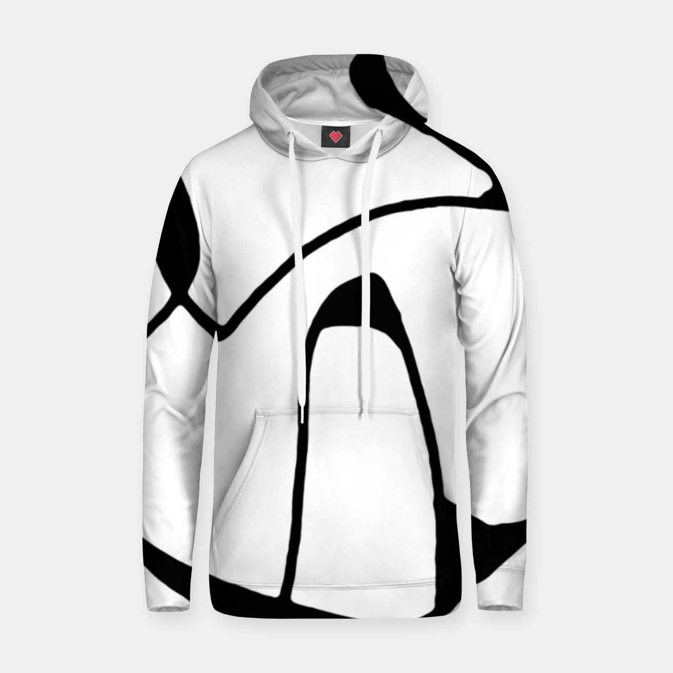 Image of Black and White Abstract Linear Decorative Art Hoodie - Live Heroes