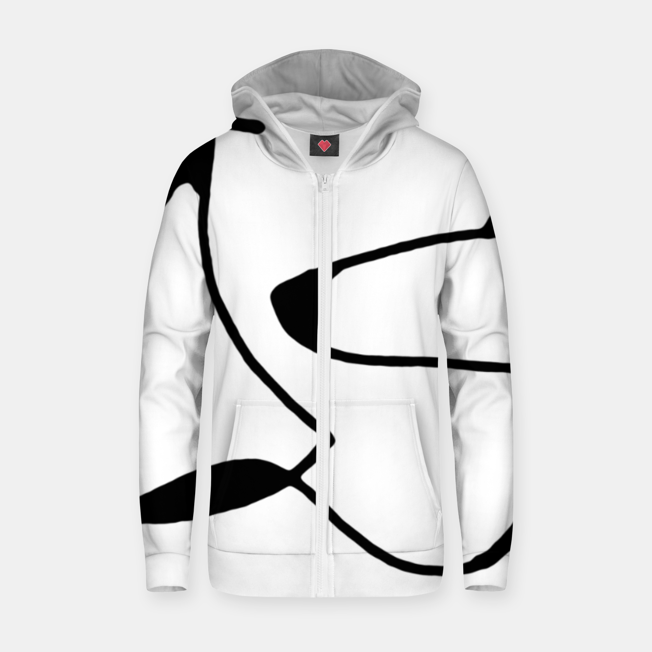 Image of Black and White Abstract Linear Decorative Art Zip up hoodie - Live Heroes