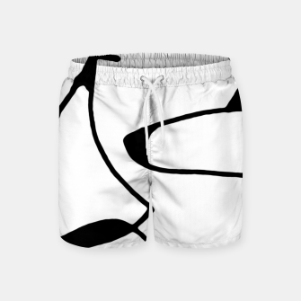 Thumbnail image of Black and White Abstract Linear Decorative Art Swim Shorts, Live Heroes