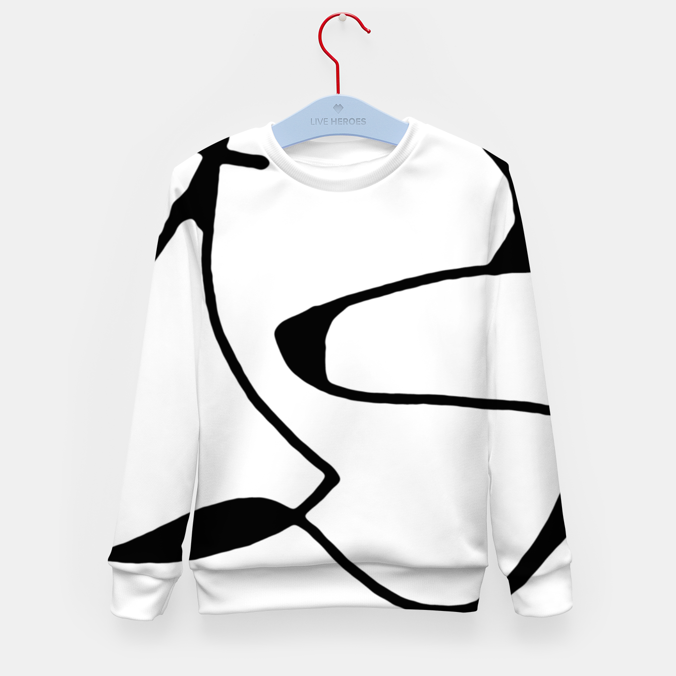 Image of Black and White Abstract Linear Decorative Art Kid's sweater - Live Heroes