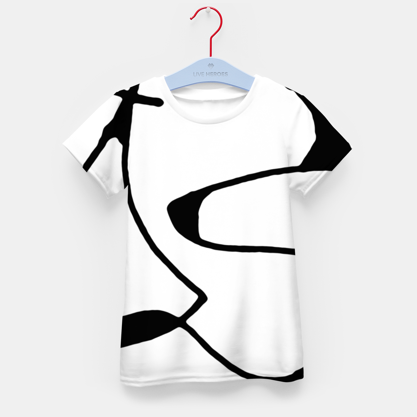 Image of Black and White Abstract Linear Decorative Art Kid's t-shirt - Live Heroes