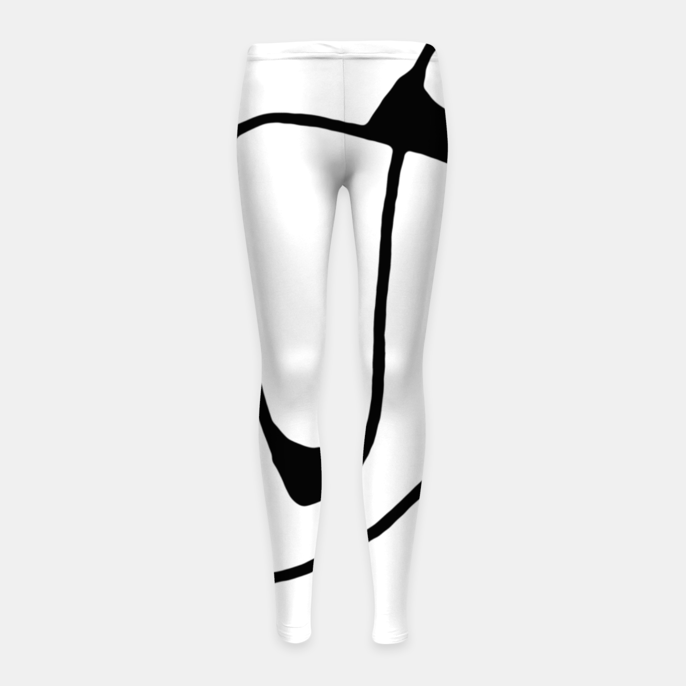 Image of Black and White Abstract Linear Decorative Art Girl's leggings - Live Heroes