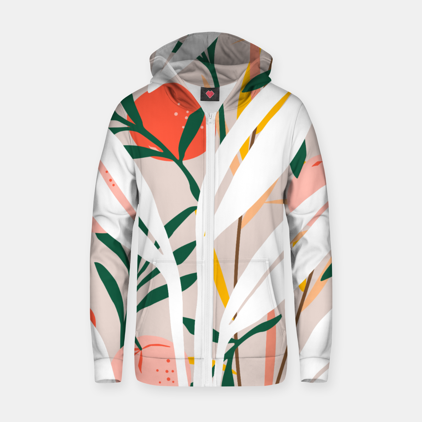 Image of Abstract Plant Blush  Zip up hoodie - Live Heroes