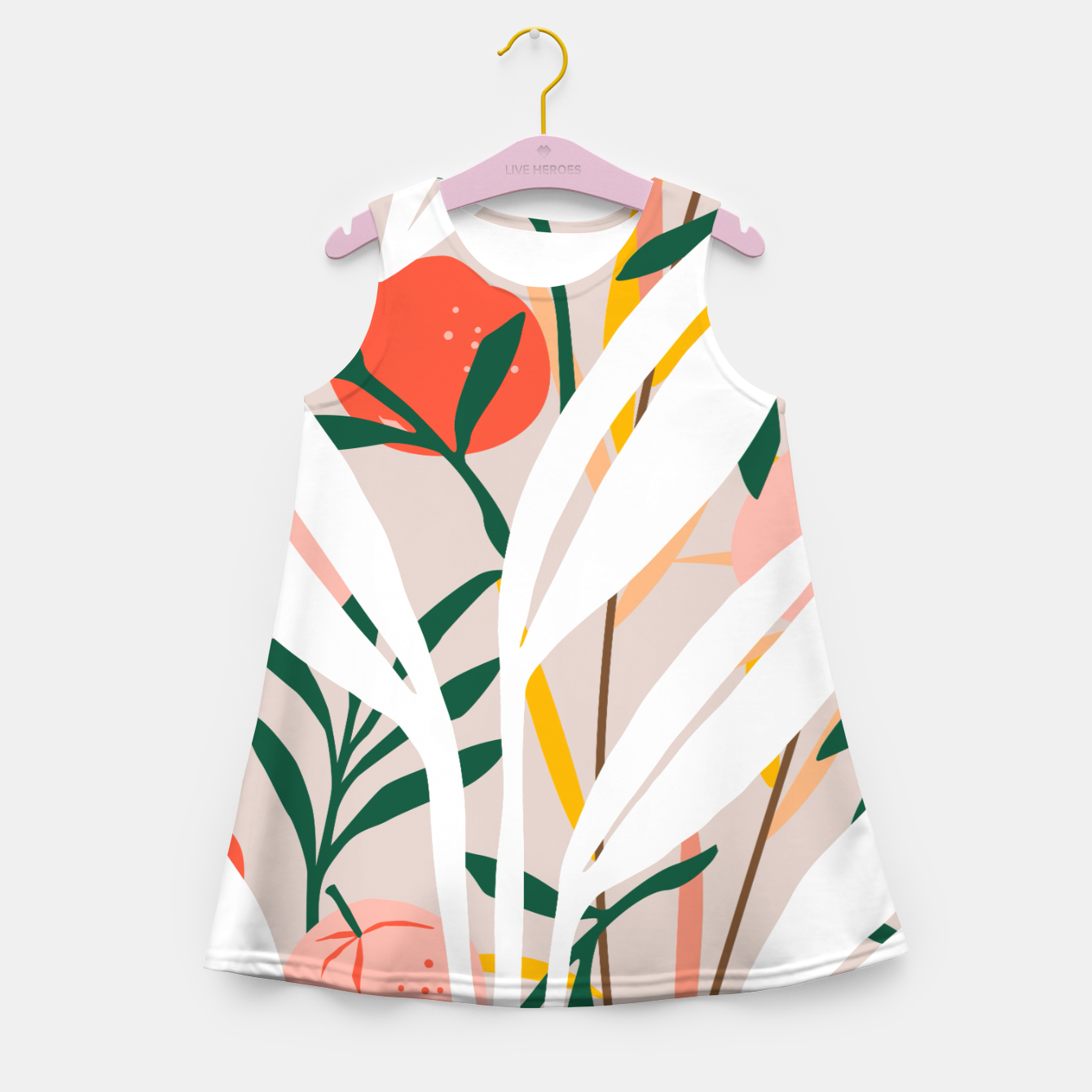 Image of Abstract Plant Blush  Girl's summer dress - Live Heroes