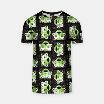 Thumbnail image of Tribal faces pattern T-shirt, Live Heroes
