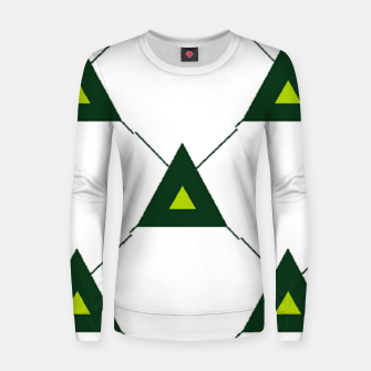 Thumbnail image of Green triangles connecting pattern Women sweater, Live Heroes