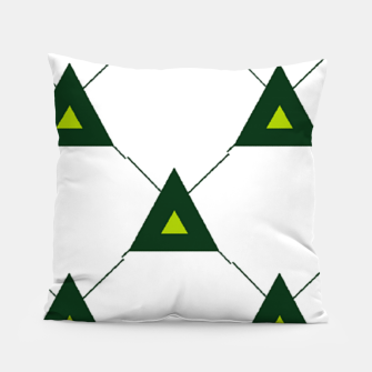 Thumbnail image of Green triangles connecting pattern Pillow, Live Heroes