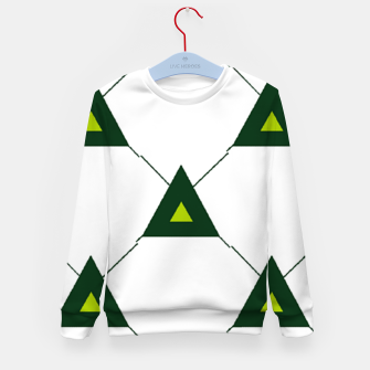 Thumbnail image of Green triangles connecting pattern Kid's sweater, Live Heroes