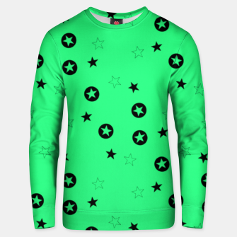 Thumbnail image of Black stars on green Unisex sweater, Live Heroes