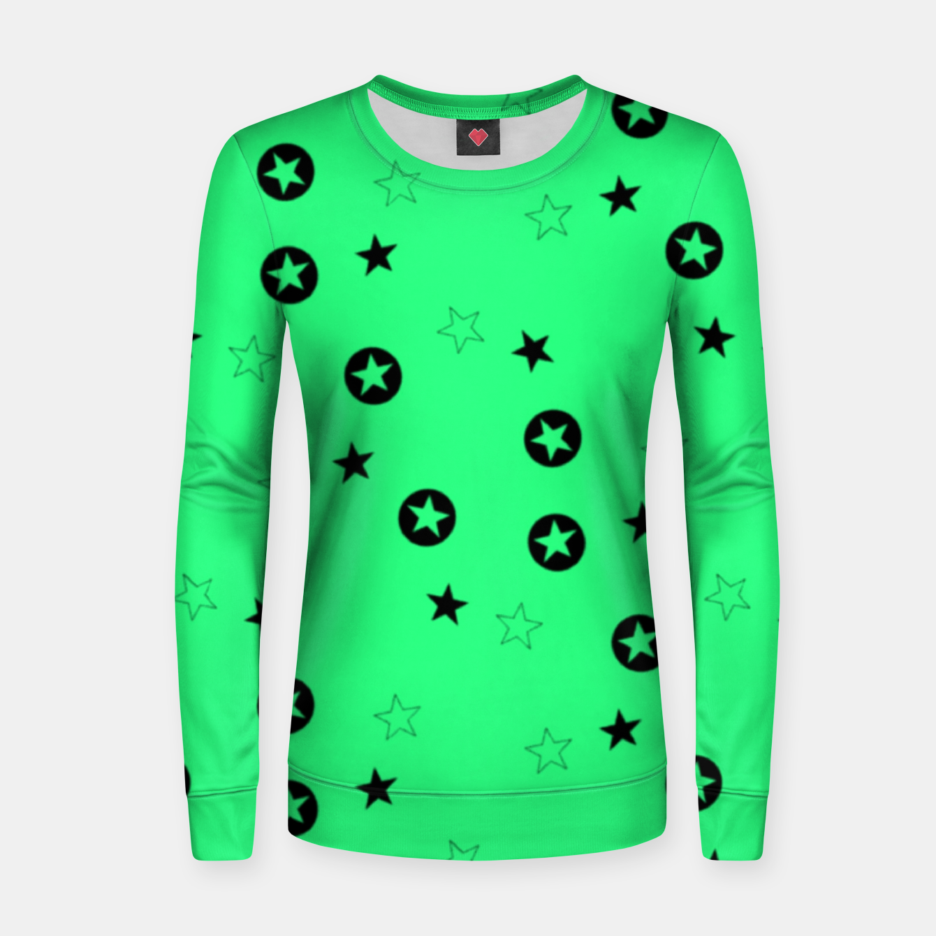 Image of Black stars on green Women sweater - Live Heroes