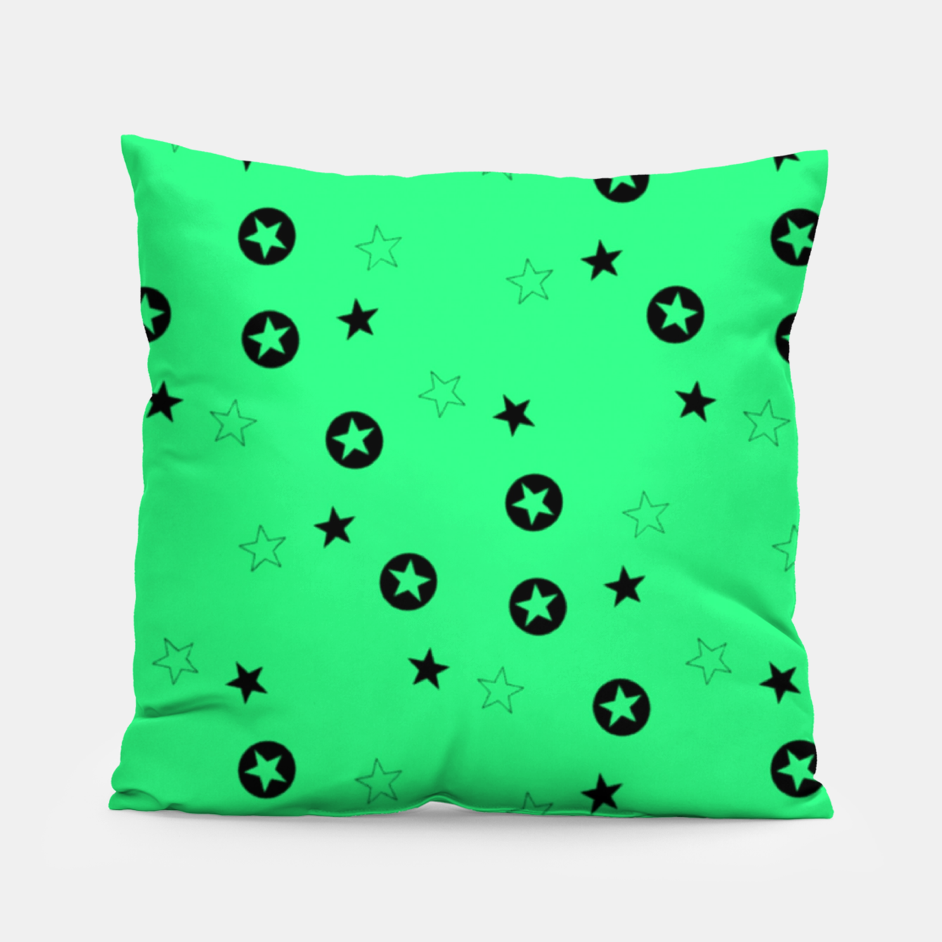 Image of Black stars on green Pillow - Live Heroes