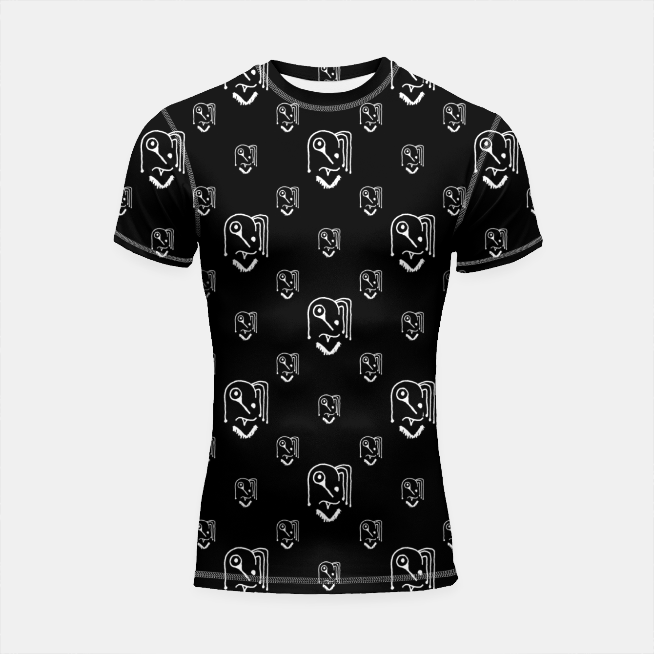Image of Funny Weird Monsters Motif Pattern Shortsleeve rashguard - Live Heroes
