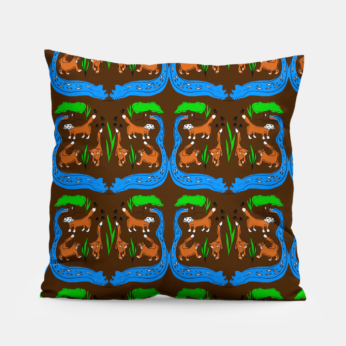 Image of Foxes Pattern Pillow - Live Heroes