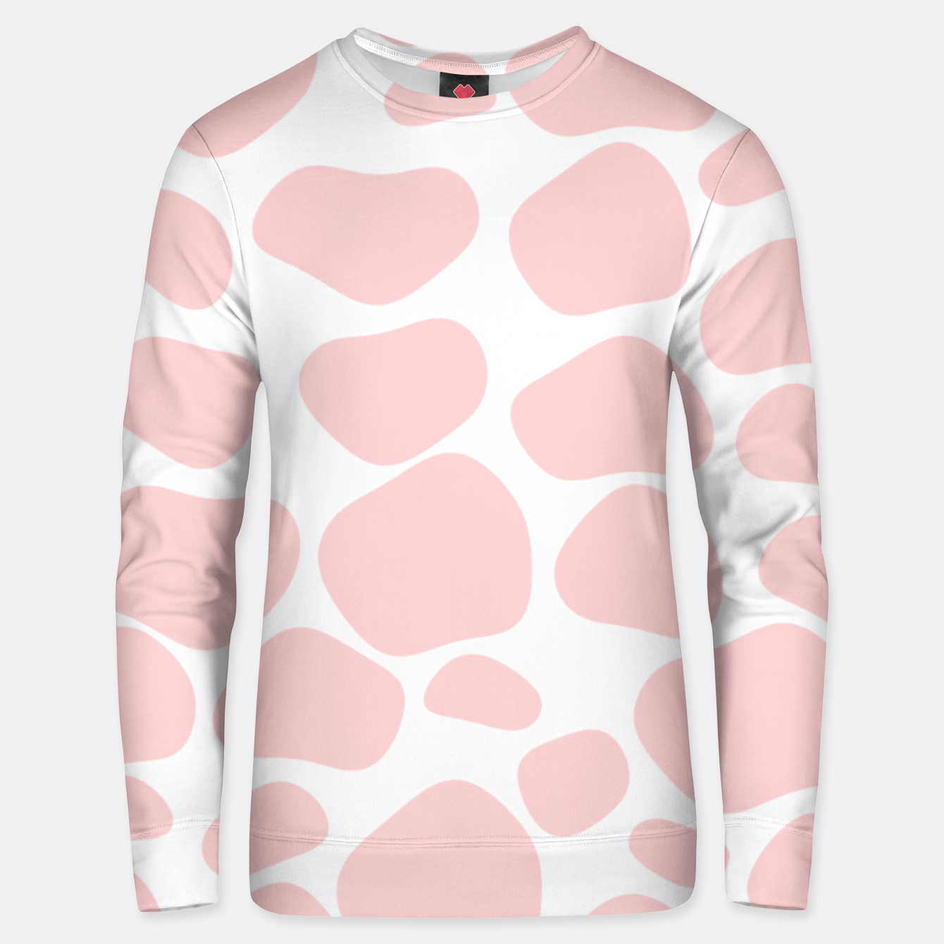 Foto Cow spots in soft flamingo pink color, baby animal print Unisex sweater - Live Heroes