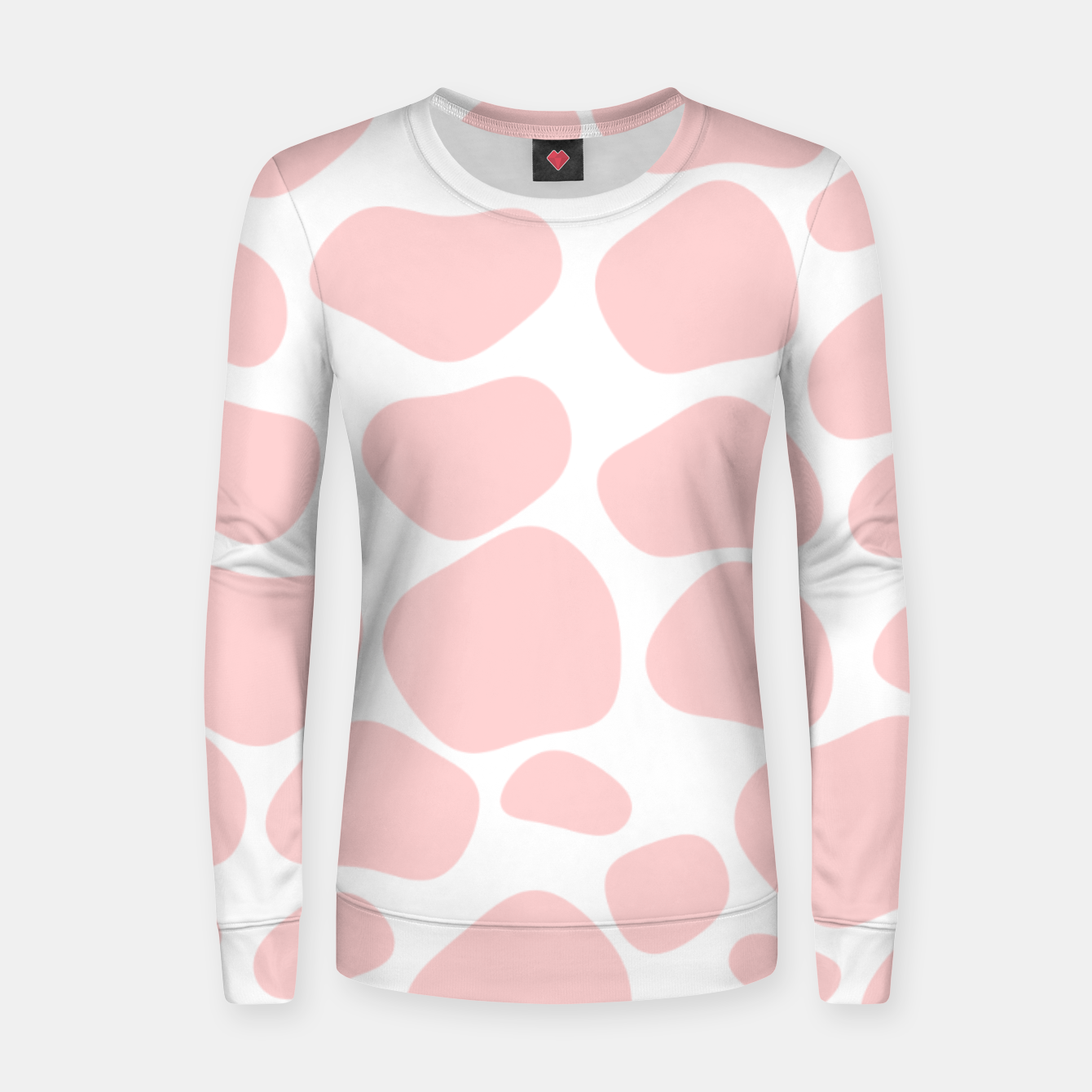Foto Cow spots in soft flamingo pink color, baby animal print Women sweater - Live Heroes