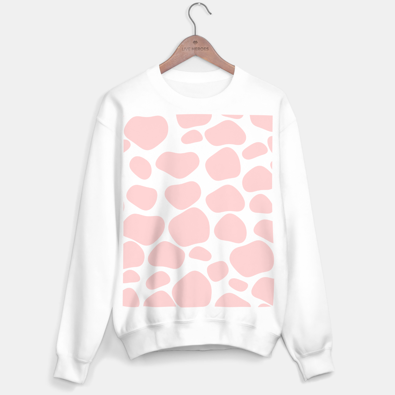 Foto Cow spots in soft flamingo pink color, baby animal print Sweater regular - Live Heroes
