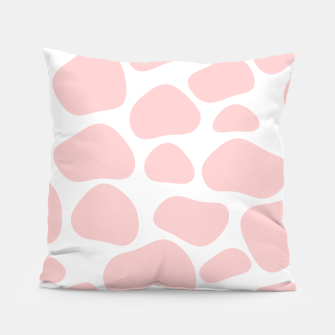 Thumbnail image of Cow spots in soft flamingo pink color, baby animal print Pillow, Live Heroes