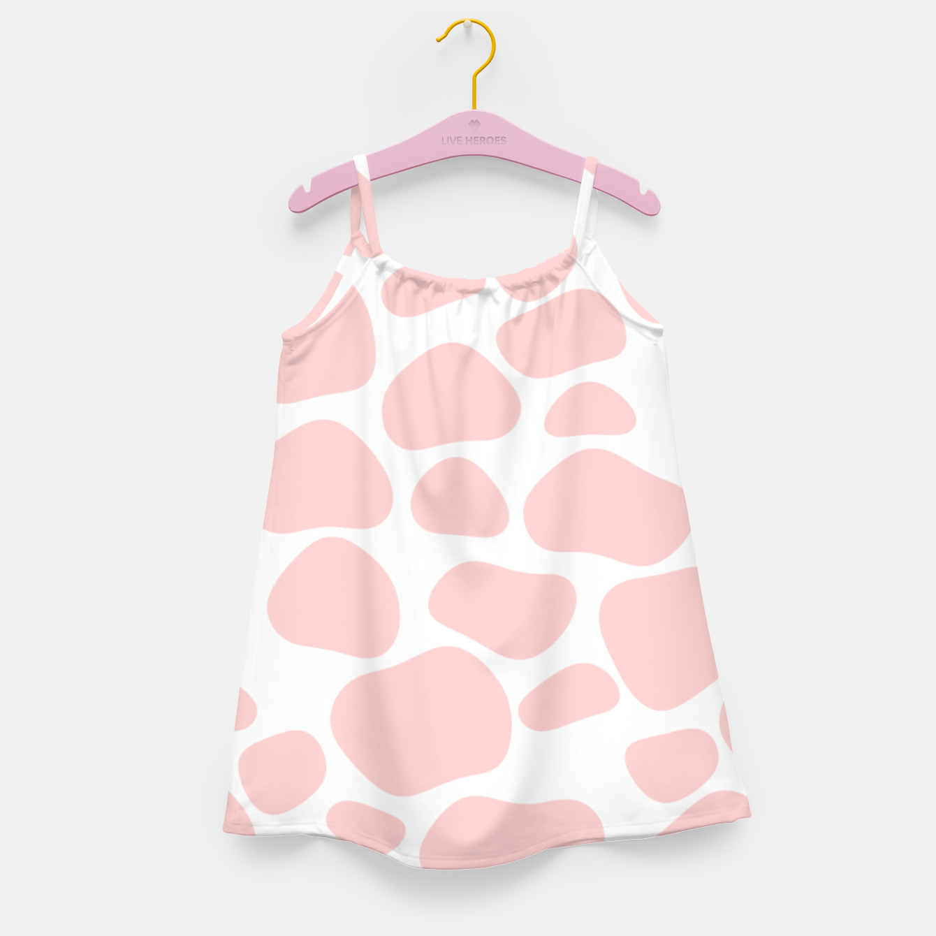 Foto Cow spots in soft flamingo pink color, baby animal print Girl's dress - Live Heroes