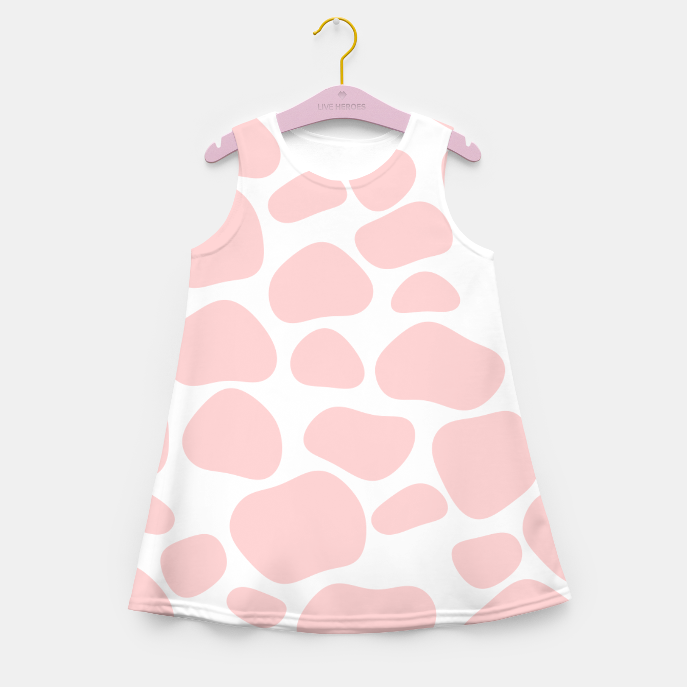 Foto Cow spots in soft flamingo pink color, baby animal print Girl's summer dress - Live Heroes
