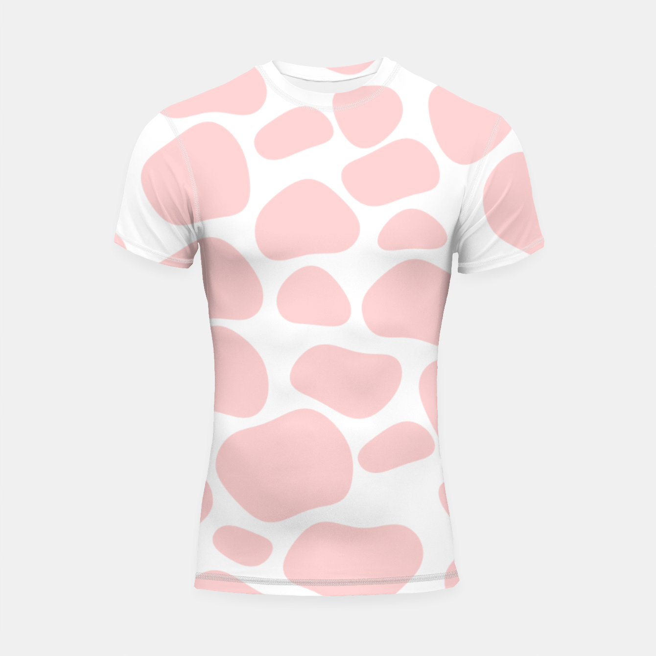 Foto Cow spots in soft flamingo pink color, baby animal print Shortsleeve rashguard - Live Heroes
