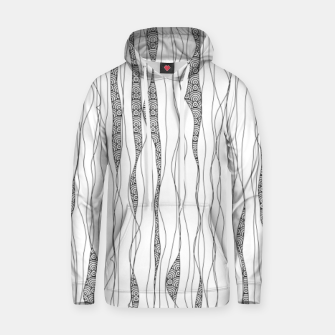 Miniatur Black and white wavy art lines with nautical elements Hoodie, Live Heroes