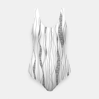 Thumbnail image of Black and white wavy art lines with nautical elements Swimsuit, Live Heroes