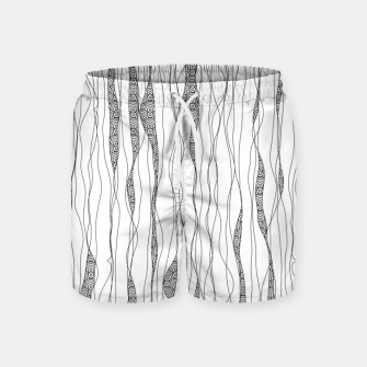 Miniatur Black and white wavy art lines with nautical elements Swim Shorts, Live Heroes