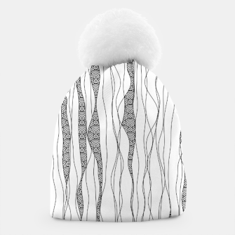 Miniatur Black and white wavy art lines with nautical elements Beanie, Live Heroes