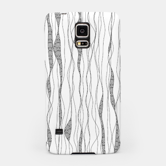 Miniatur Black and white wavy art lines with nautical elements Samsung Case, Live Heroes