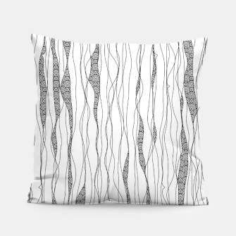 Thumbnail image of Black and white wavy art lines with nautical elements Pillow, Live Heroes