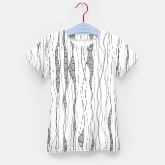 Thumbnail image of Black and white wavy art lines with nautical elements Kid's t-shirt, Live Heroes