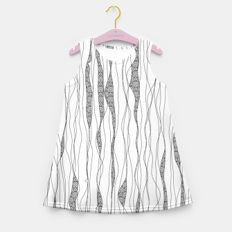 Miniatur Black and white wavy art lines with nautical elements Girl's summer dress, Live Heroes