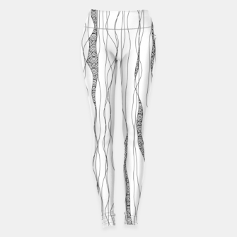 Thumbnail image of Black and white wavy art lines with nautical elements Leggings, Live Heroes