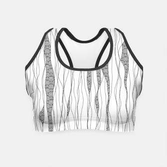Thumbnail image of Black and white wavy art lines with nautical elements Crop Top, Live Heroes