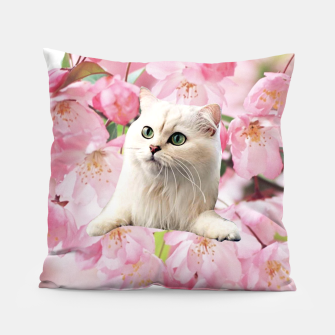 Thumbnail image of Cat and Flowers Pillow, Live Heroes