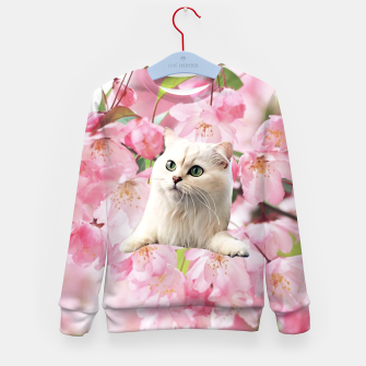 Thumbnail image of Cat and Flowers Kid's sweater, Live Heroes