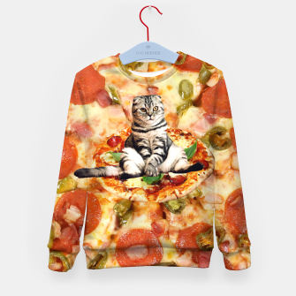 Thumbnail image of Cat and Pizza Kid's sweater, Live Heroes
