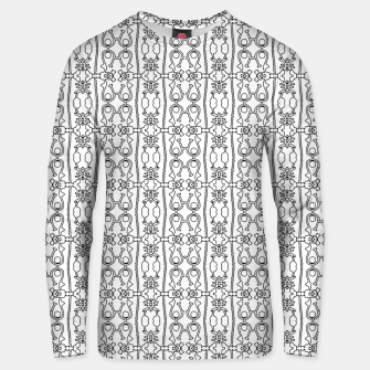 Thumbnail image of Modern Tribal Black and White Ornate Stripes Unisex sweater, Live Heroes