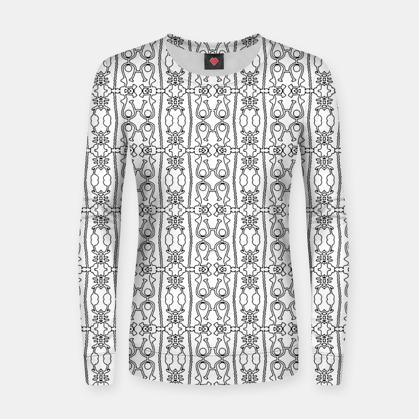 Image of Modern Tribal Black and White Ornate Stripes Women sweater - Live Heroes