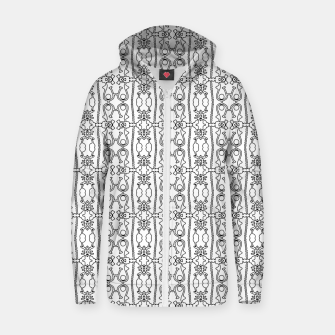 Thumbnail image of Modern Tribal Black and White Ornate Stripes Zip up hoodie, Live Heroes