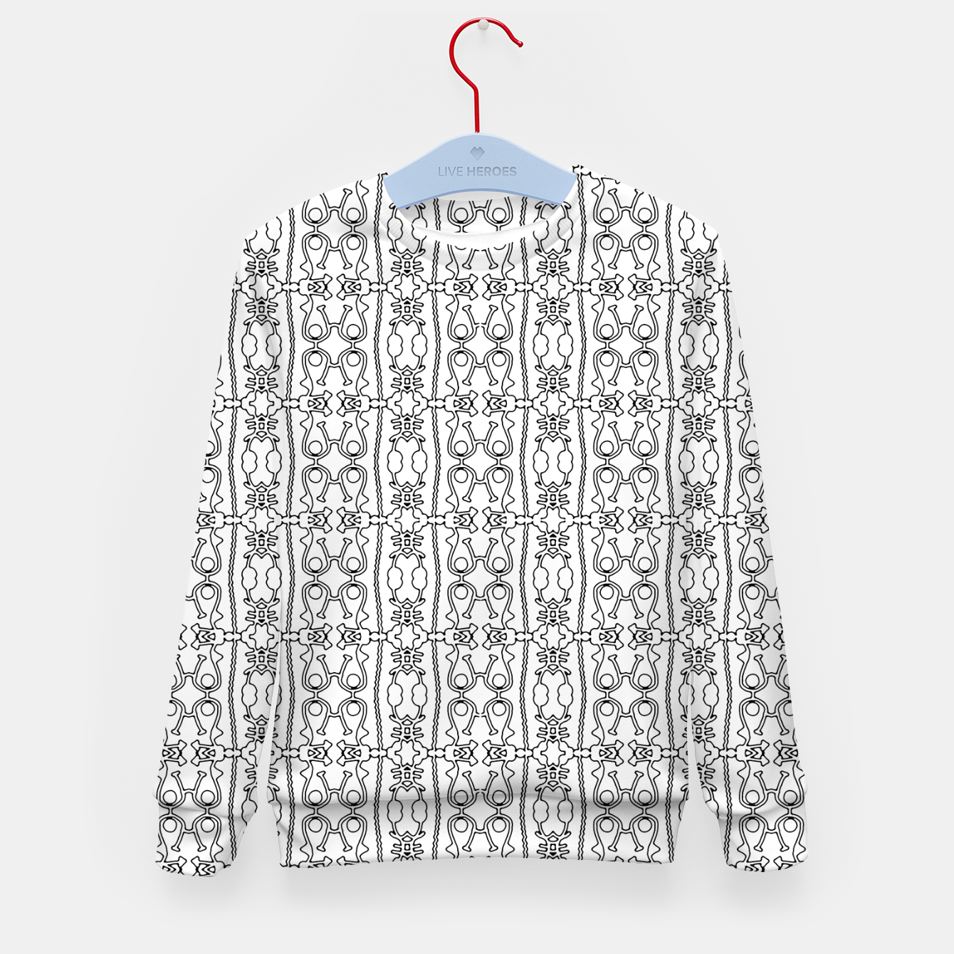 Image of Modern Tribal Black and White Ornate Stripes Kid's sweater - Live Heroes