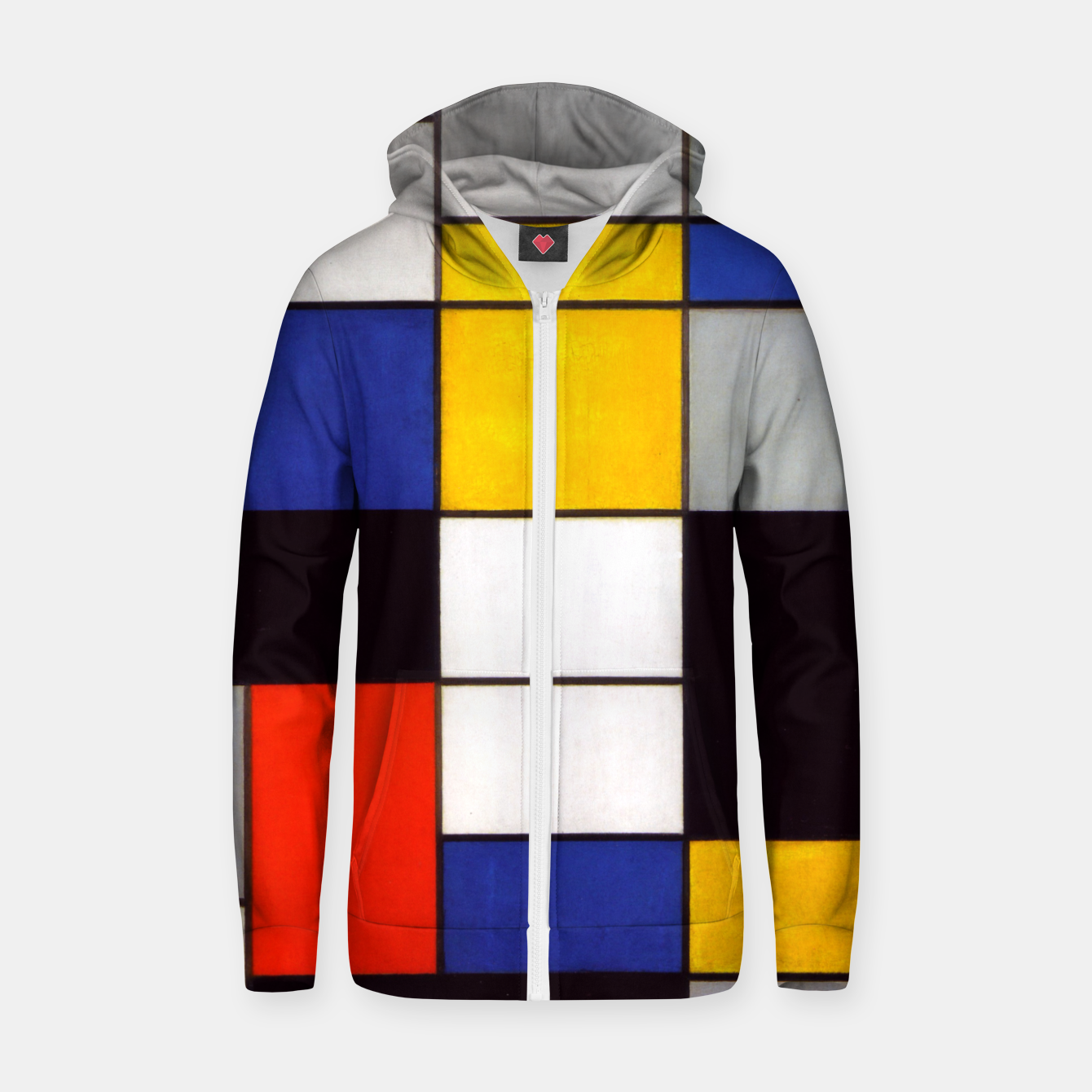 Image of Composition A by Piet Mondrian Zip up hoodie - Live Heroes