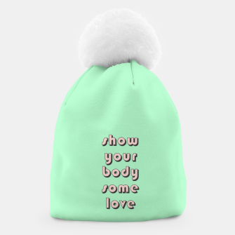 Thumbnail image of Show your body some love, typographic print Beanie, Live Heroes