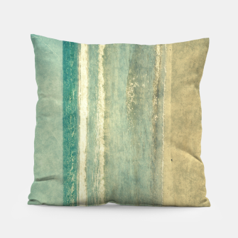 Thumbnail image of Abstract seascape vintage, Beige blue ocean sea Pillow, Live Heroes